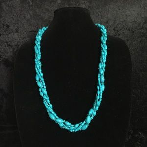 Jewelry - Turquoise Colored Beaded Twist Necklace (j007)